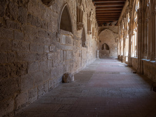 Cloister of the collegiate church of Santa Maria la Real in the village of Sasamon on the Camino de SAntiago, Spain.