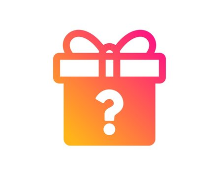 Gift box with Question mark icon. Present or Sale sign. Birthday Shopping symbol. Package in Gift Wrap. Classic flat style. Gradient secret gift icon. Vector