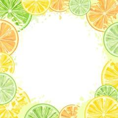 In de dag Draw Citrus Watercolors Fresh Summer Frame Vector Design