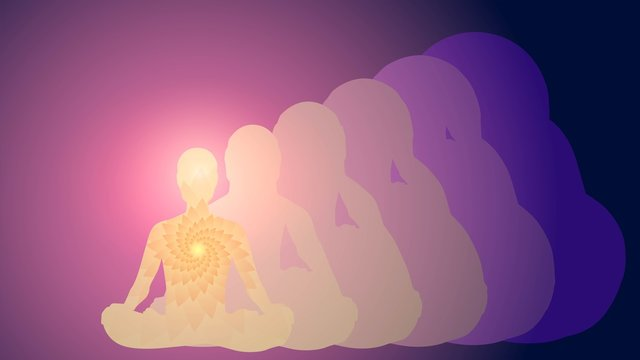 Silhouette of a man in the lotus position, meditation, yoga, aura