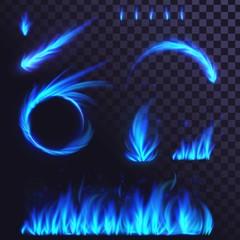Set of blue fire elements, ring of fire, fireball, flames, bonfire