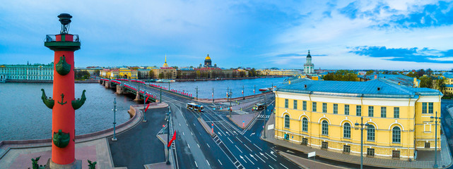 Saint Petersburg, Russia. Panorama of Petersburg in the spring. The museum Kunstkamera. Palace Bridge in the early morning without people. Rostral column. Spring morning in SPb.