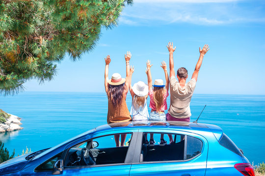 Summer car trip and young family on vacation
