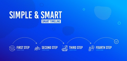 Infographic timeline. Growth chart, Car service and Approved icons simple set. Startup sign. Sale diagram, Repair service, Refresh symbol. Developer. Technology set. 4 steps layout. Vector