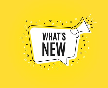 Whats new symbol. Megaphone banner. Special offer sign. New arrivals symbol. Loudspeaker with speech bubble. Whats new sign. Marketing and advertising tag. Vector