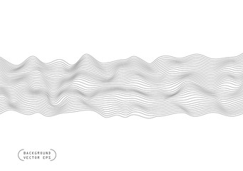 Abstract wavy horizontal volume convex lines, dark winding, relief wave. Band. Vector illustration template with the ability to overlay isolated on a light background. Wall mural
