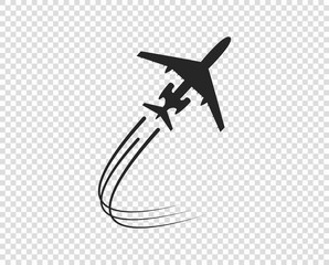 Airplane. Icon silhouette taking off. A twisting plane trail. Vector element isolated on a transparent background.