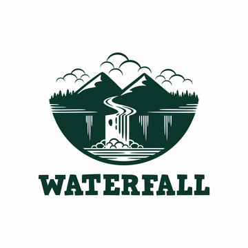 Waterfall River Mountain Forest Cloud Logo Vector