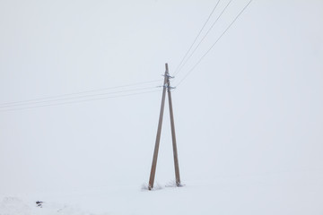 winter landscape with electric pole Wall mural