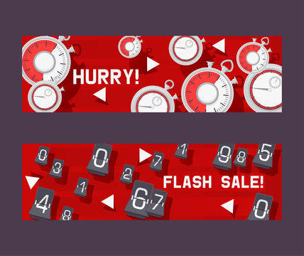 Timer concept set of banners vector illustration. Hurry not to be late for discount in shop or store. Flash sale with countdown timer. Changing numbers. Shopping things. Clock .
