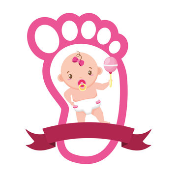 cute girl in diaper with rattle in footprint baby shower