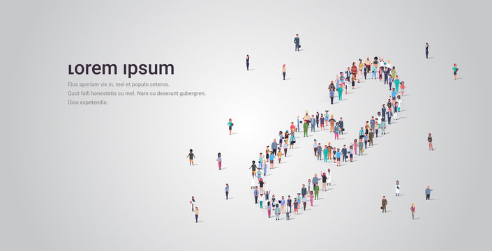 people crowd gathering in link icon shape social media community concept different occupation employees group standing together full length horizontal copy space