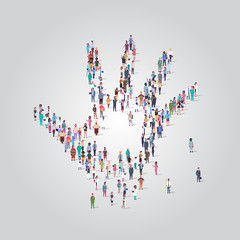 people crowd gathering in shape of palm hand icon social media community concept different occupation employees group standing together full length