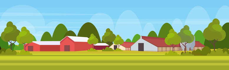 farm house modern barn building exterior field farmland countryside landscape background flat horizontal
