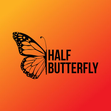 half butterfly wing sillhouette with editable text template icon or illustration
