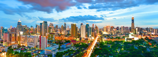 Poster Bangkok Panoramic twilight view cityscape commercial modern building and condominium in downtown Bangkok ,Thailand