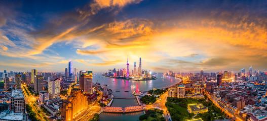 Shanghai skyline panoramic view at sunset,China