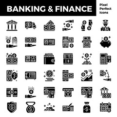 Banking and finance solid icon base on pixel perfect 64px. vector illustration