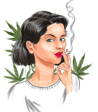 Pretty woman smoking marijuana joint with a green cannabis leaves in the background. Ink and watercolor illustration