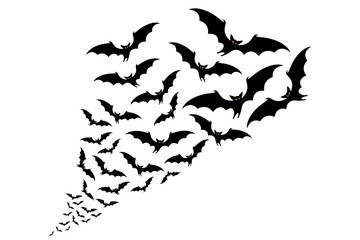 flying bats silhouettes. flock of bats