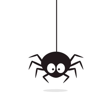 Cute Spider hanging on cobweb. Halloween character