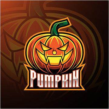 Halloween pumpkin mascot logo design