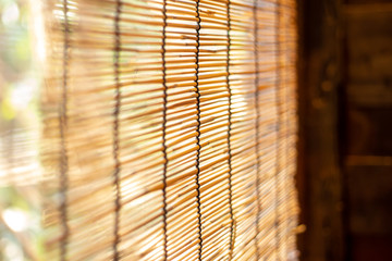bamboo wooden roll windows sun shade. Asian chinese nature living home decoration style