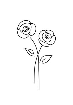 Abstract minimal roses flower. One line drawing icon.