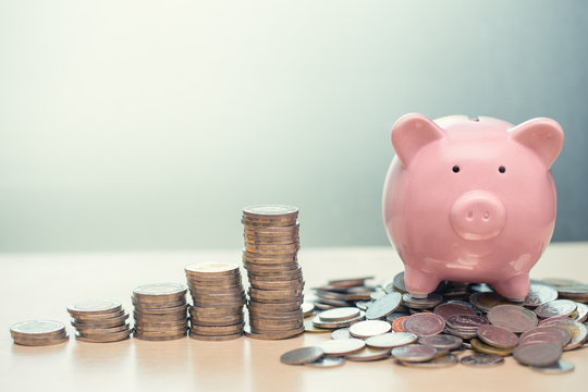 Saving Money concept, Piggy bank with coin for Personal Wealth Income and Profit Financial Business