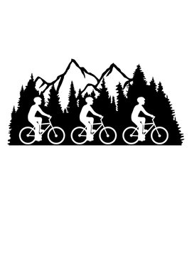 3 freunde fahrrad fahren fahrradfahrer fahrradtour tour team gipfel berge hügel wald bergig ausflug urlaub ferien nadelwald tannenbaum alpen schwarzwald clipart design cool schön heimat liebe