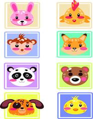 Set of cute Animals avatar, cartoon isolated on white background