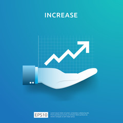 business chart on hand. income salary rate increase. graphic growth margin revenue. Finance performance of return on investment ROI concept with arrow element. flat style design vector illustration.