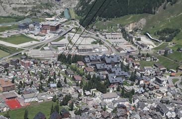 General view shows the mountain resort of  Andermatt