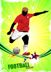 Poster Superheroes Poster Soccer football player. Colored Vector illustration for designers