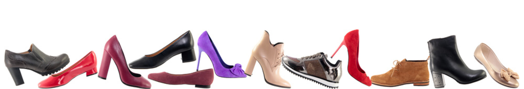 Shoes advertising banner, Collage of different shoes