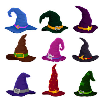 Set of hats wizards in different colors. Vector illustration on white background.
