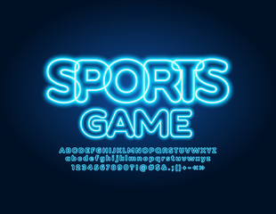 Vector neon glowing poster Sports Game with illuminated Font. Electric Alphabet Letters, Numbers and Symbols