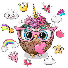 Cartoon Owl unicorn girl and set of cute design elements