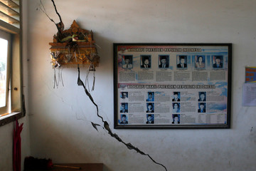 "Pictures of Indonesia's former presidents and offerings of Balinese Hindu called ""Canang"" are seen inside a school building, damaged following an earthquake in Nusa Dua, Bali"
