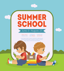 Summer School Banner Template with Cute Boy and Girl Sitting on Lawn and Reading Books Vector Illustration