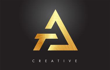 A Golden Letter Monogram Design Logo. Gold Letter A Icon Logo Vector.