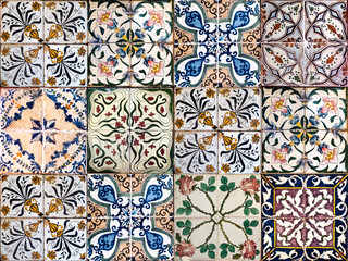 Garden Poster Moroccan Tiles Background of vintage ceramic tiles