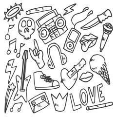 set of rock star doodle, drawing, sketch
