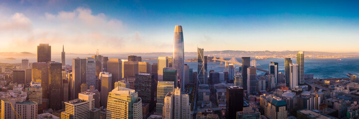 Aerial View of San Francisco Skyline at Sunset Fototapete