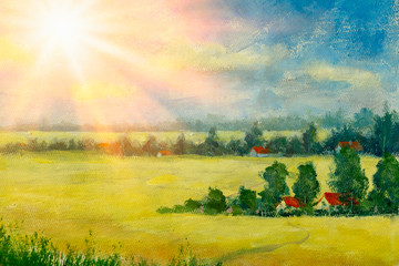 Beautiful acrylic painting on canvas. Sunny country landscape. Beautiful summer nature - yellow flowering field, farm houses in village.