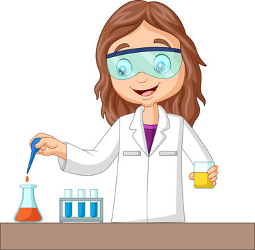 Cartoon girl doing chemical experiment