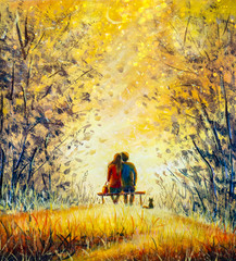 Wall Murals Melon Oil painting romance and love. A loving couple and cat - young man and beautiful girl are sitting on bench and enjoying beautiful view of yellow sunset. Romantic landscape.
