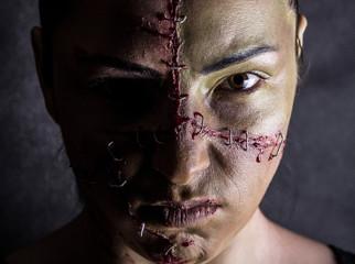 Fototapeta Kobieta zszycie Frankenstein horror portret obraz
