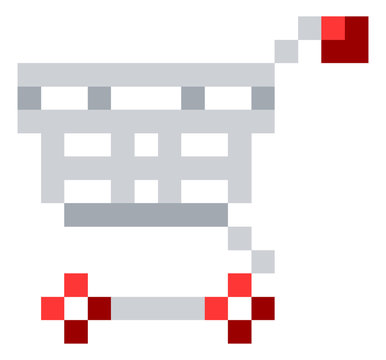 A shopping cart trolley icon in a pixel 8 bit video game art style