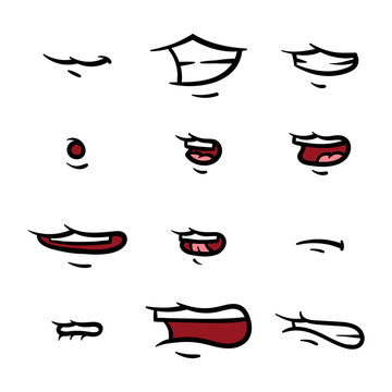 Set of Cartoon Mouth Poses